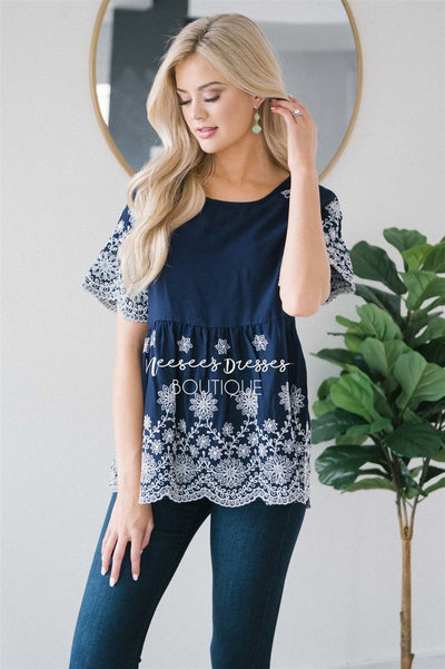 Embroidered Floral Detail Babydoll Top Tops vendor-unknown S Navy