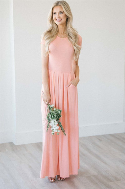 Short Sleeve Pleated Maxi Dress