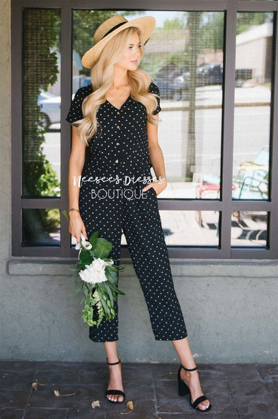 The Mimi Polka Dot Jumpsuit Modest Dresses vendor-unknown S Black