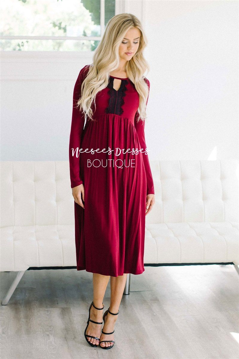Eyelash Lace Detail Deep Wine Dress Modest Dresses vendor-unknown Wine S