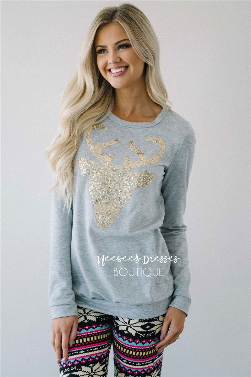 Red Gold Sequin Reindeer Sweater | Cute Comfy Cardigans and