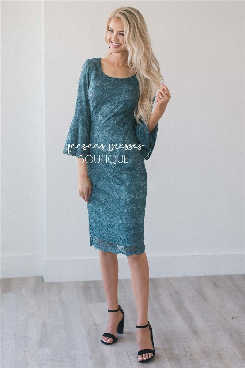 The April Modest Dresses vendor-unknown Shimmery Emerald XS