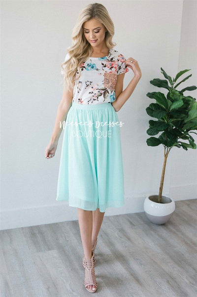 Mint Chiffon Skirt Skirts vendor-unknown Mint XS
