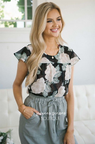 Floral Flutter Sleeve Chiffon Top Tops vendor-unknown