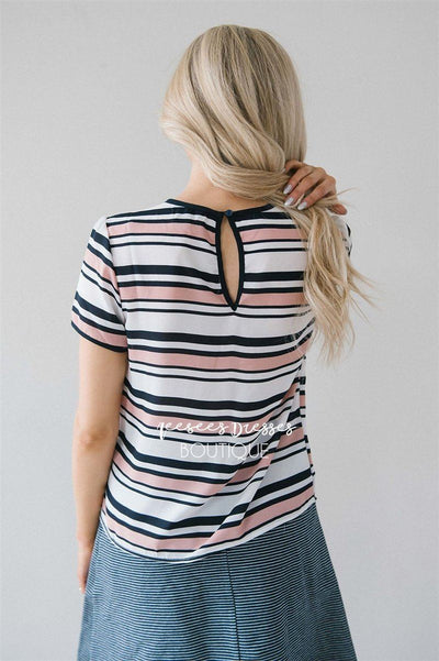 Pink & Navy Striped Neck Tie Blouse