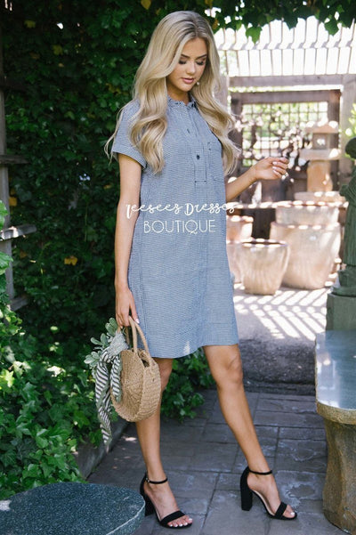 Gingham Print Shift Dress Modest Dresses vendor-unknown