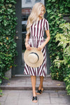 The Amy Modest Dresses vendor-unknown Wine & Ivory Stripes S