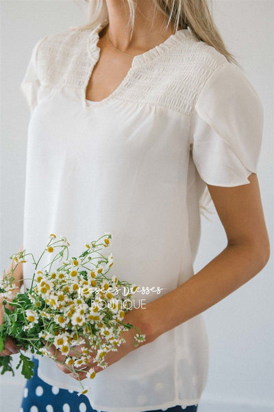 Shirred Tulip Sleeve Top Tops vendor-unknown