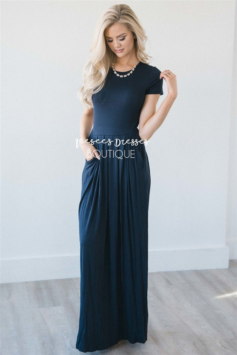 f5d58cc91951 Solid Navy Pleated Maxi Modest Dress | Best and Affordable Modest Boutique  | Cute Modest Dresses and Skirts for Church - Neesee's Dresses