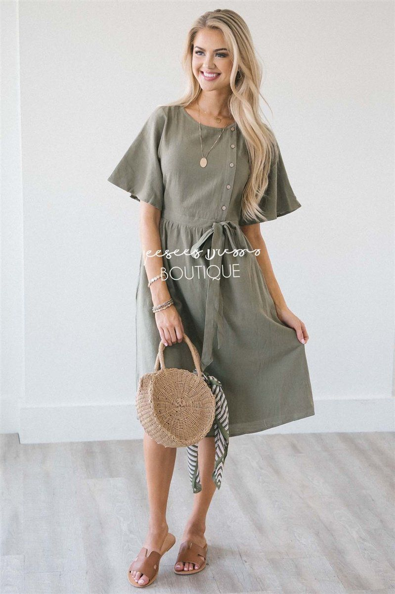 The Kaia Modest Dresses vendor-unknown Dusty Olive S