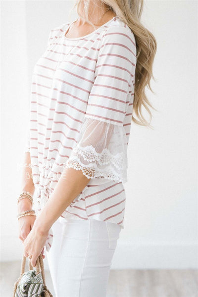 Lace Bell Sleeve Tie Front Top Tops vendor-unknown