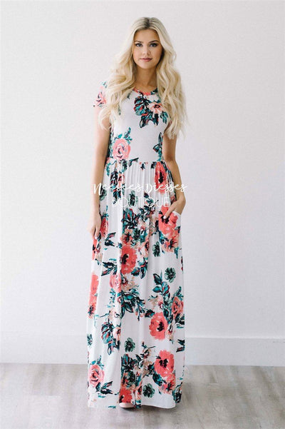 Ivory Watercolor Short Sleeve Maxi Dress Modest Dresses vendor-unknown S Ivory