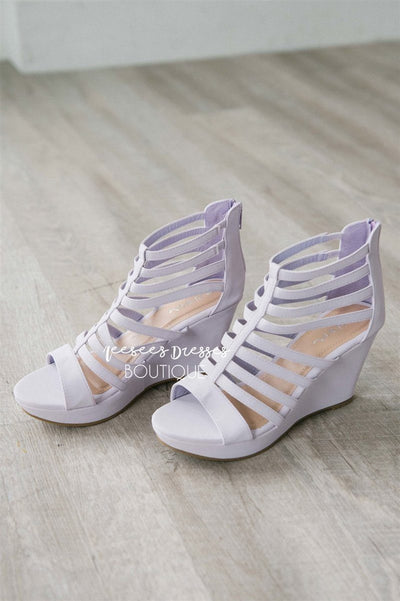 Summer Lilac Strappy Wedges Accessories & Shoes vendor-unknown 5.5 Lilac