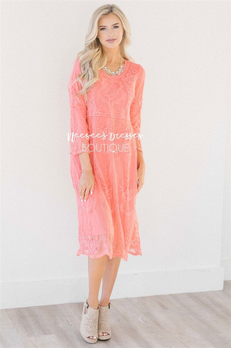 Day Dreamer Lace Dress in Coral Modest Dresses vendor-unknown Small/Medium Coral