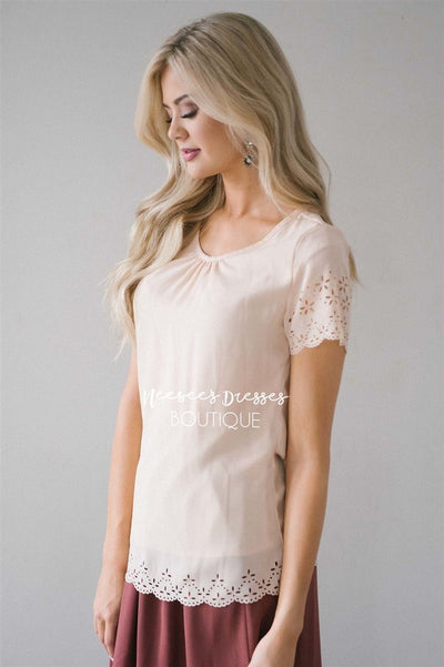 Eyelet Scallop Chiffon Top Tops vendor-unknown