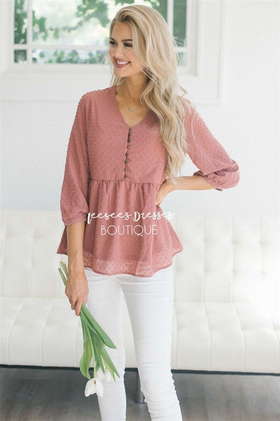 Polka Dot Embroidered Baby Doll Top Tops vendor-unknown Dusty Coral S