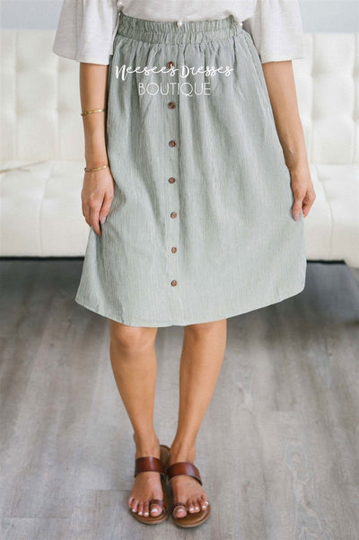 Sage Pinstripe Button Detail Skirt
