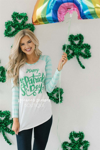 Happy St. Patrick's Day Top Tops vendor-unknown Happy St. Patrick's Day Top - Mint - S