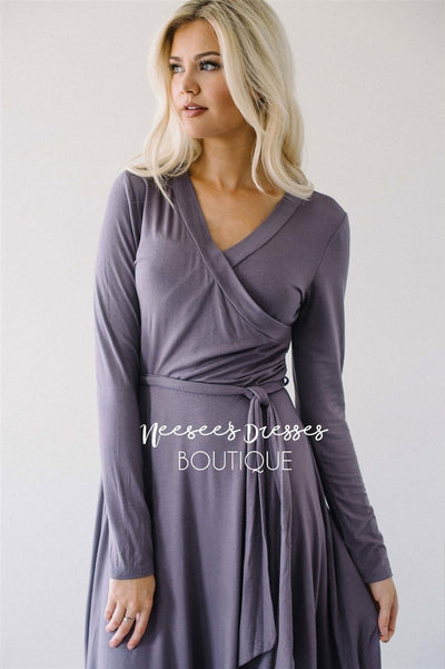 Dusty Lilac Wrap Dress Modest Dresses vendor-unknown