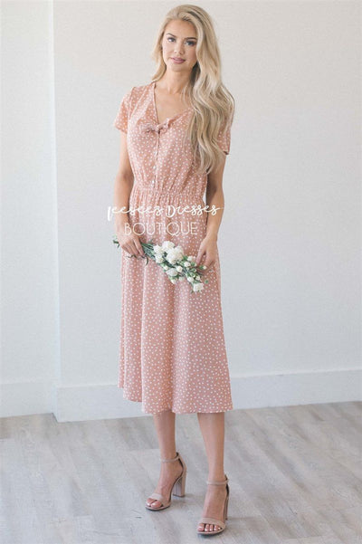 The Carmela Modest Dresses vendor-unknown Peachy Taupe Polka Dot S