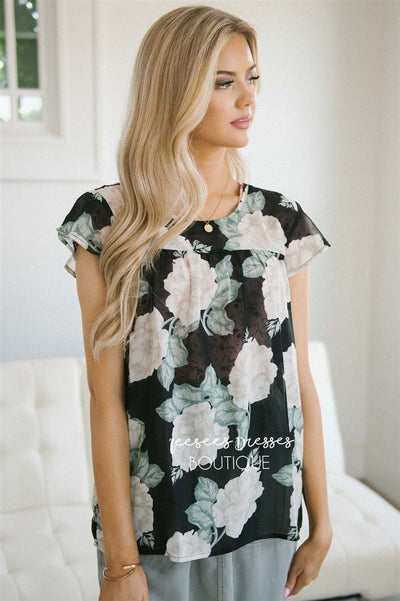 Floral Flutter Sleeve Chiffon Top Tops vendor-unknown Black & Beige Floral XS