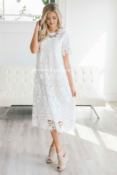 White Lace Nursing Friendly Modest Dress Modest Bridesmaids
