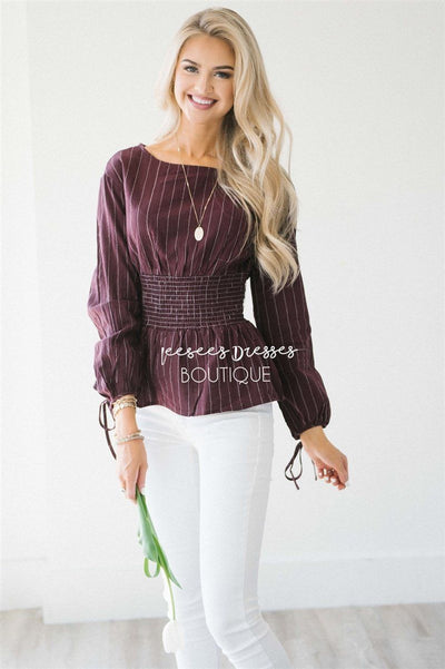 Pinstripe Cinched Waist Tie Sleeve Top Tops vendor-unknown Wine & Ivory Stripes S