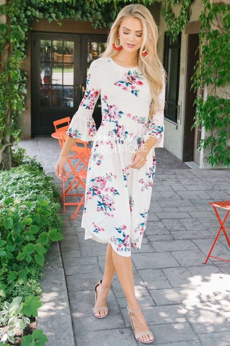 The Nicole Modest Dresses vendor-unknown Ivory Bright & Bold Floral S