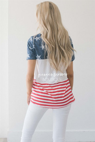 Color Block American Flag Top Tops vendor-unknown