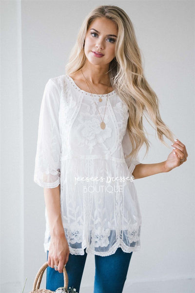 Day Dreamer Lace Blouse Tops vendor-unknown White S