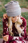 Gray Knit Beanie Accessories & Shoes Leto Accessories
