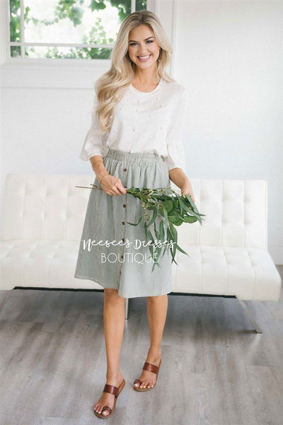 Sage Pinstripe Button Detail Skirt Skirts vendor-unknown Sage XS