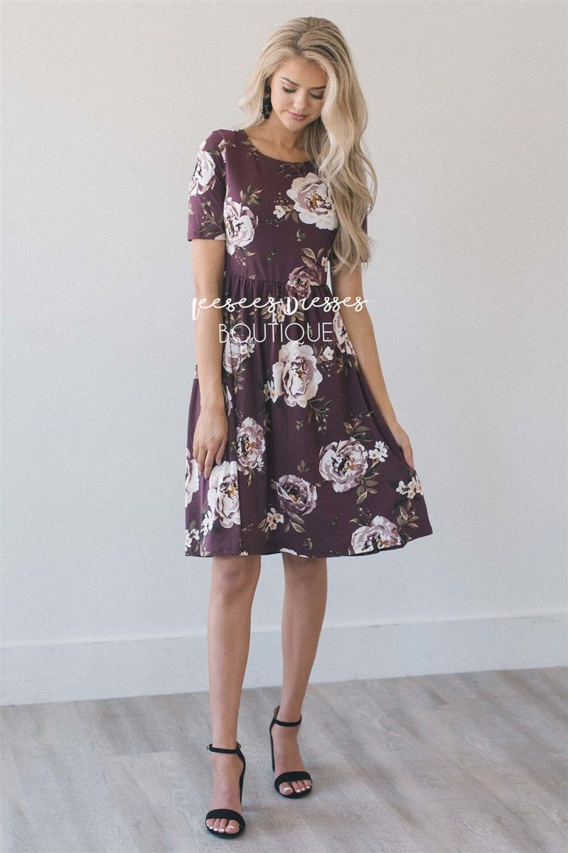 24e29eb5b6c1 The Natalie Modest Dresses vendor-unknown Burgundy & Beige Floral XS