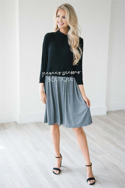 The Emily Modest Dresses vendor-unknown Black & Charcoal S
