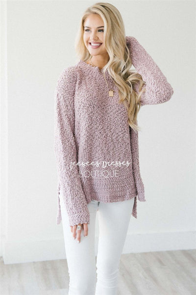 Cozy Fall Popcorn Pullover Sweater Tops vendor-unknown Dusty Lavender S