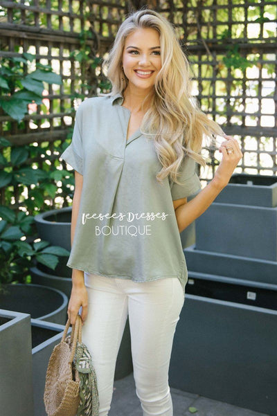 V Neck Button Back Blouse Tops vendor-unknown S Dusty Sage