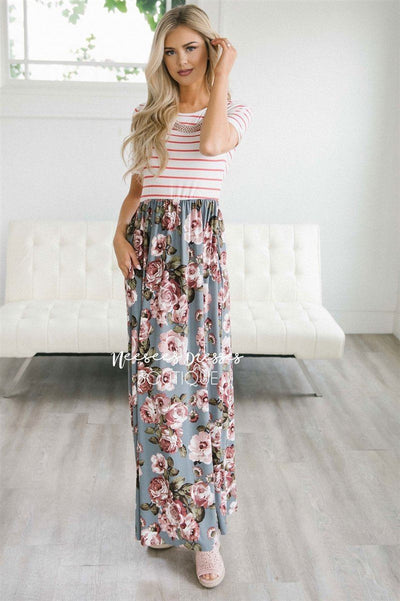 The Sasha Modest Dresses vendor-unknown Gray Floral S