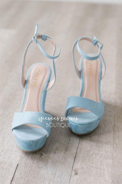 Dusty Blue Wedges Accessories & Shoes vendor-unknown