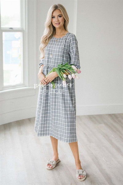 The Gia Modest Dresses vendor-unknown S Black & White Plaid