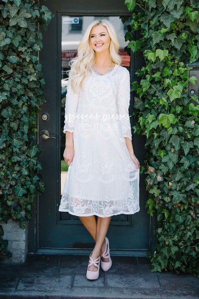 Day Dreamer Lace Dress in White Modest Dresses vendor-unknown Small/Medium White