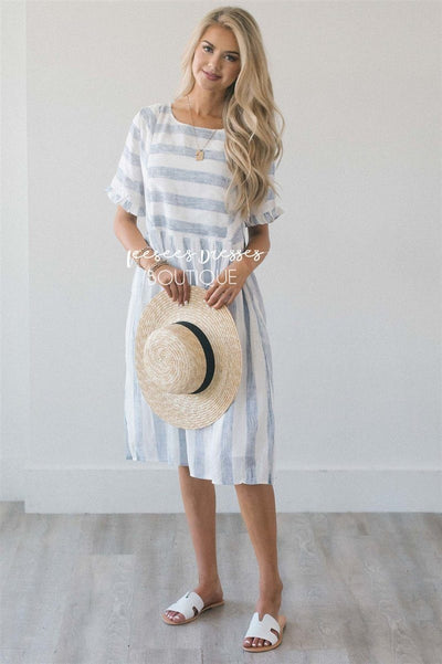 The Monika - Nursing Friendly Modest Dresses vendor-unknown S Faded Navy & Ivory Stripes