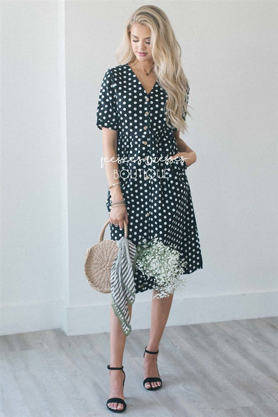 The Clarissa Modest Dresses vendor-unknown S Black & White Polka Dot