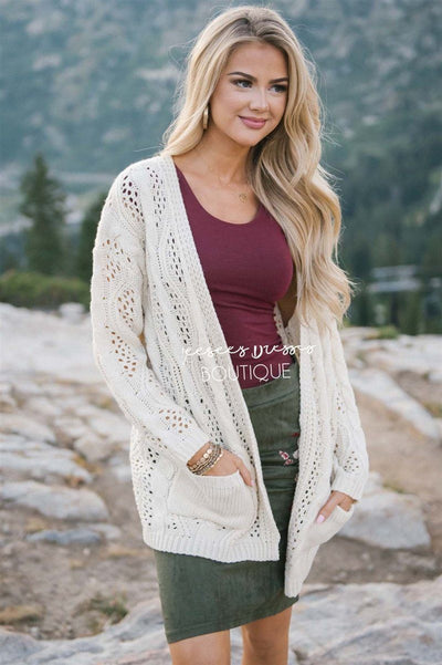 Over Sized Crochet Knit Cardigan Tops vendor-unknown Cream S