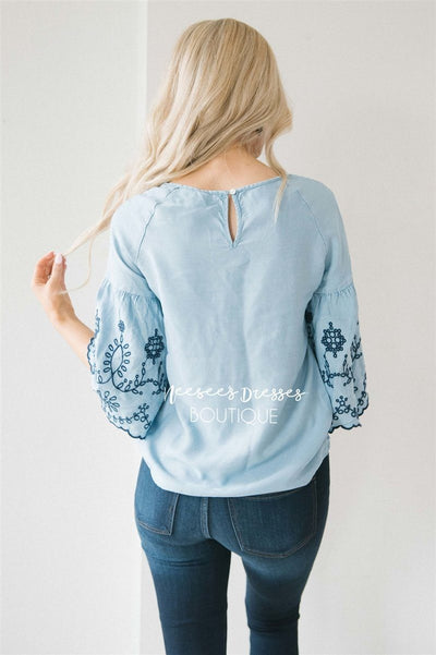 Embroidered Chambray Bell Sleeve Top Tops vendor-unknown