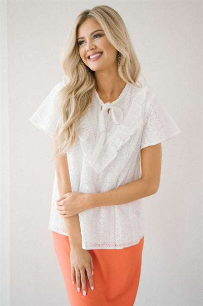 Ivory Lace & Ruffle Neck Tie Top Tops vendor-unknown Ivory S
