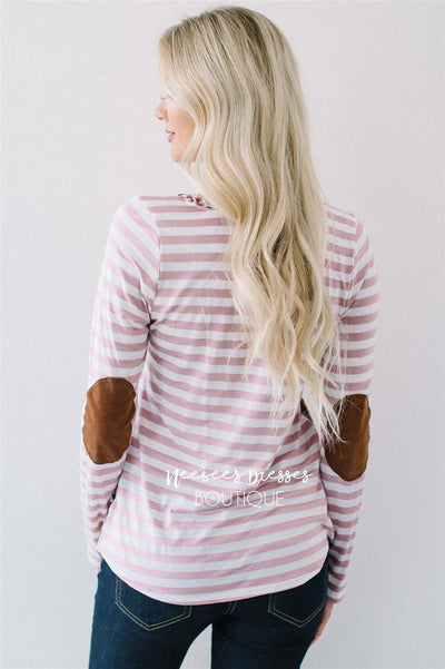 Pink Stripes & Floral Elbow Patch Top Tops vendor-unknown