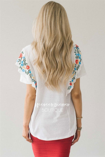 Cute Embroidered Ruffle Sleeve Top Tops vendor-unknown