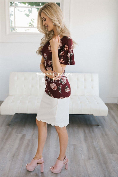 Floral Scoop Neck Bell Sleeve Top Tops vendor-unknown