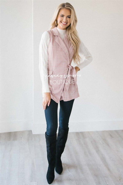 Pretty in Pink Plaid Self Tie Vest Tops vendor-unknown