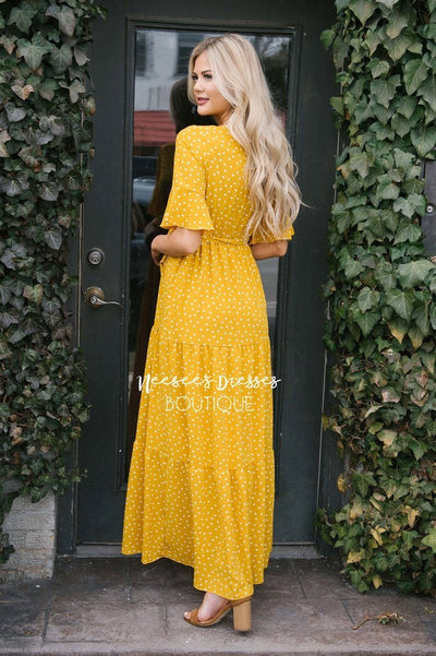 Polka Dot Flutter Sleeve Tiered Maxi Dress
